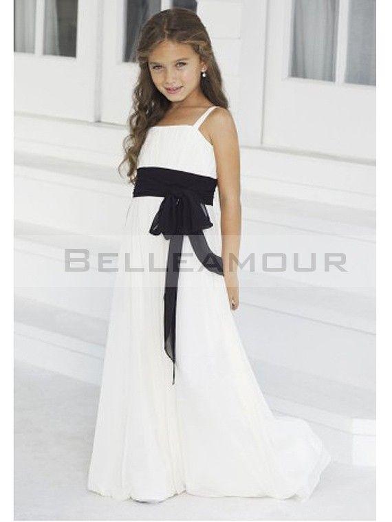 Fille Longue Robe D''honneur Noire Demoiselle Ruban Blanche v0mN8nOw