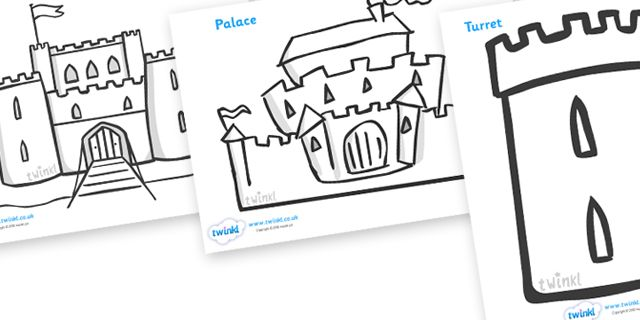 Twinkl Resources Castles and Knights Colouring Sheets