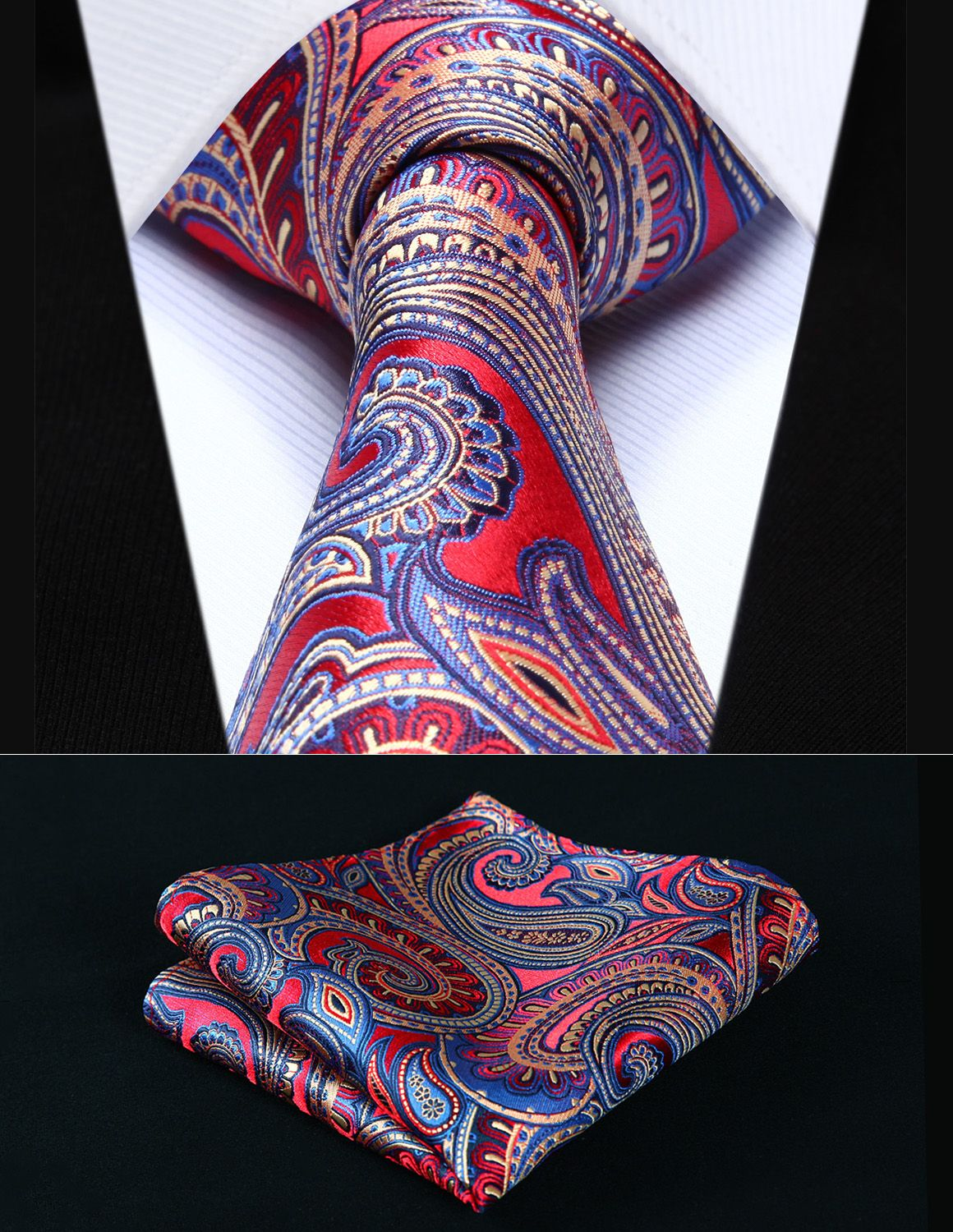 7af53e1d80242 Click to Buy << Party Wedding Classic Pocket Square Tie TP926R8S Red Blue  Paisley 3.4