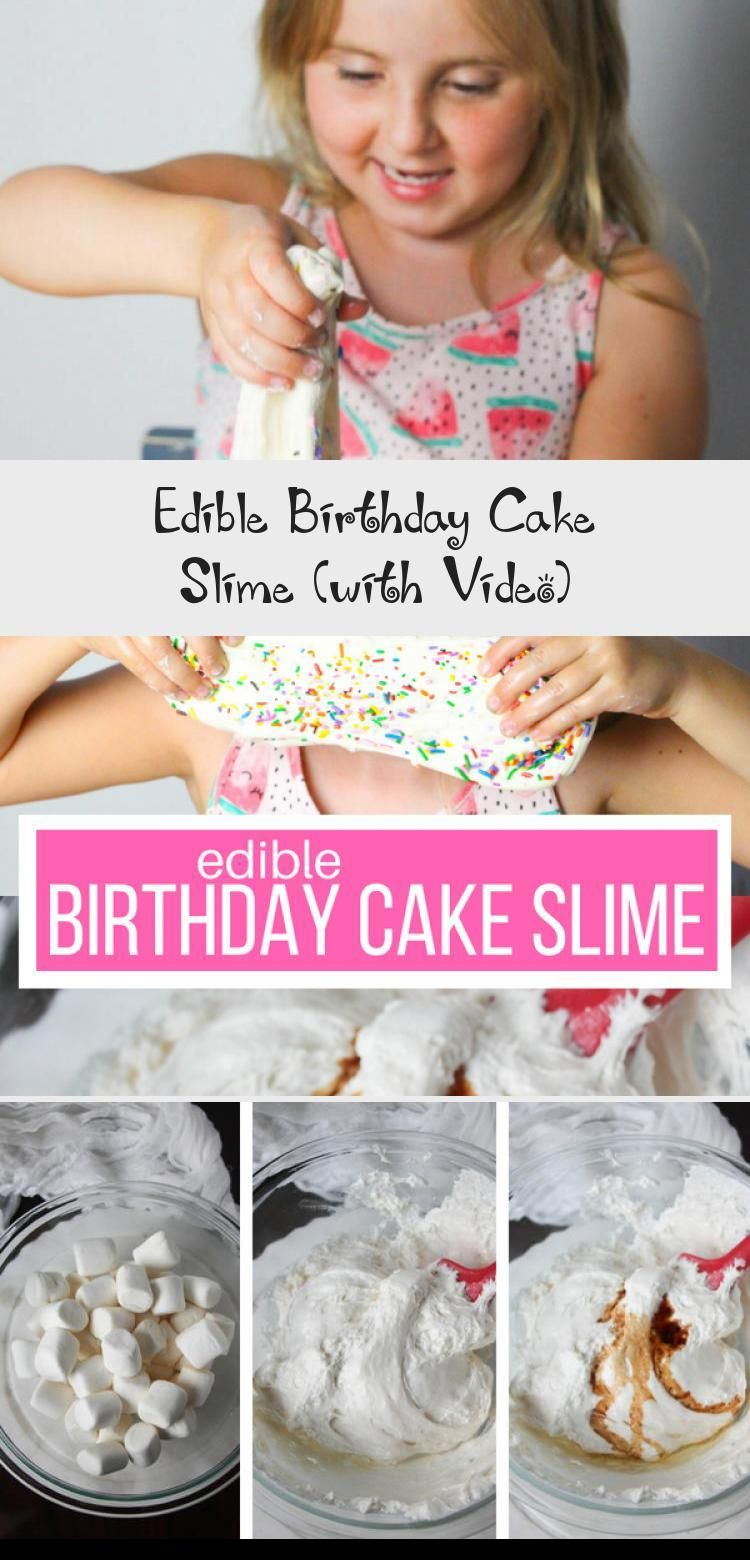 Edible Birthday Cake slime - a fun edible slime recipe made with ingredients you already have in your kitchen! Tastes just like vanilla birthday cake #slimevideo #slimerecipe #edibleslime #craftvideo #SSG #sensoryplay #BirthdaycakesFondant #BirthdaycakesPhotography #BirthdaycakesStrawberry #60thBirthdaycakes #20thBirthdaycakes #edibleslime