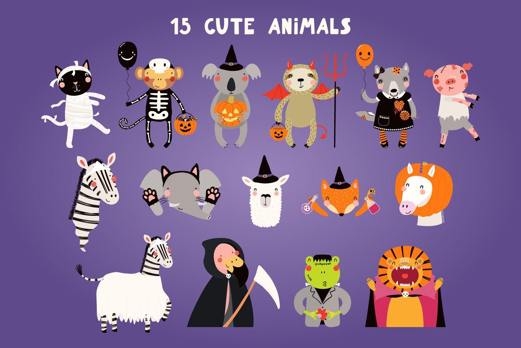 Halloween Party Cute Animals Clipart Cute Animal Clipart Animal Clipart Cute Animals