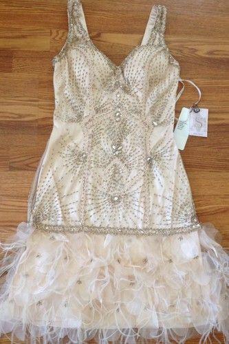 Blush Wedding Dress With Feathers : Sue wong gatsby deco blush beaded feather evening bridal