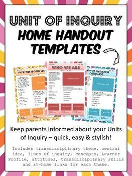 PYP IB Unit of Inquiry Parent Communication Templates | IB | Parent