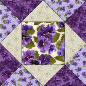 Debbie Beaves Lovely Purple Cream Lavender Floral Pansy Fabric Quilt Block Kit | eBay