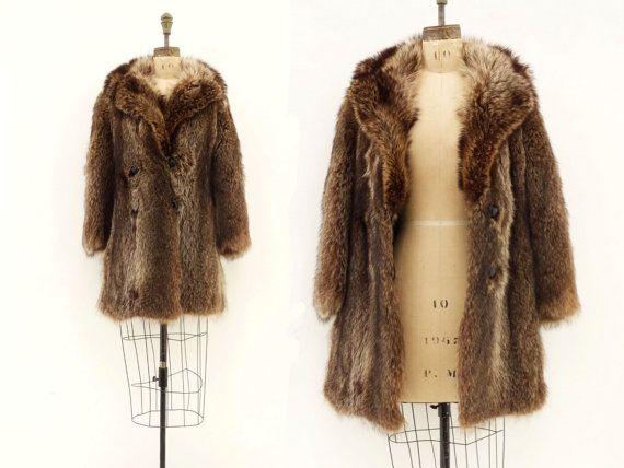 1970s Fur Coat Vintage Raccoon Coat Boho Primitive Fur 1970s Boho ...