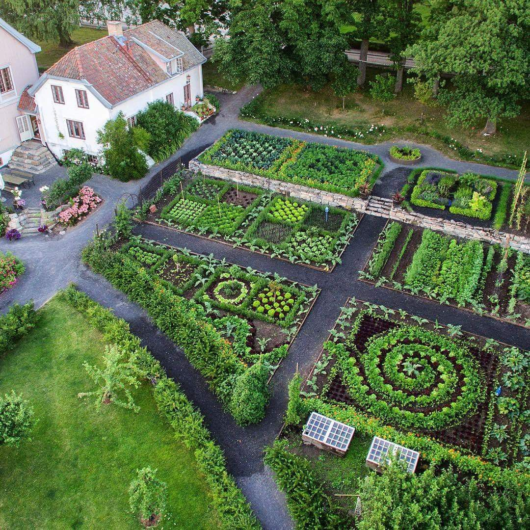 Vegetable Garden Design Ideas: Aerial View Of Hovelsrud Gård, Historic Garden