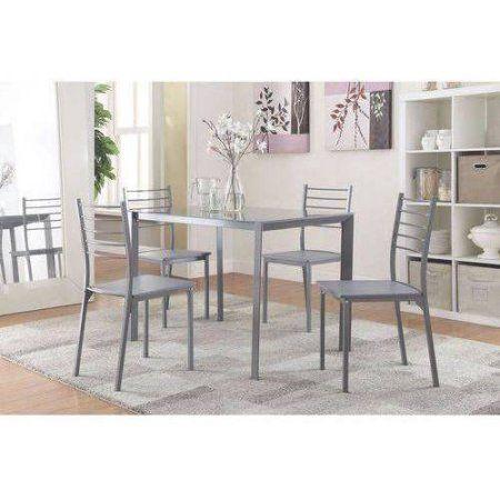 Coaster Company 5 Piece Gray Dining Table Set Walmart Com Grey Dining Tables Glass Top Dining Table Metal Dining Set