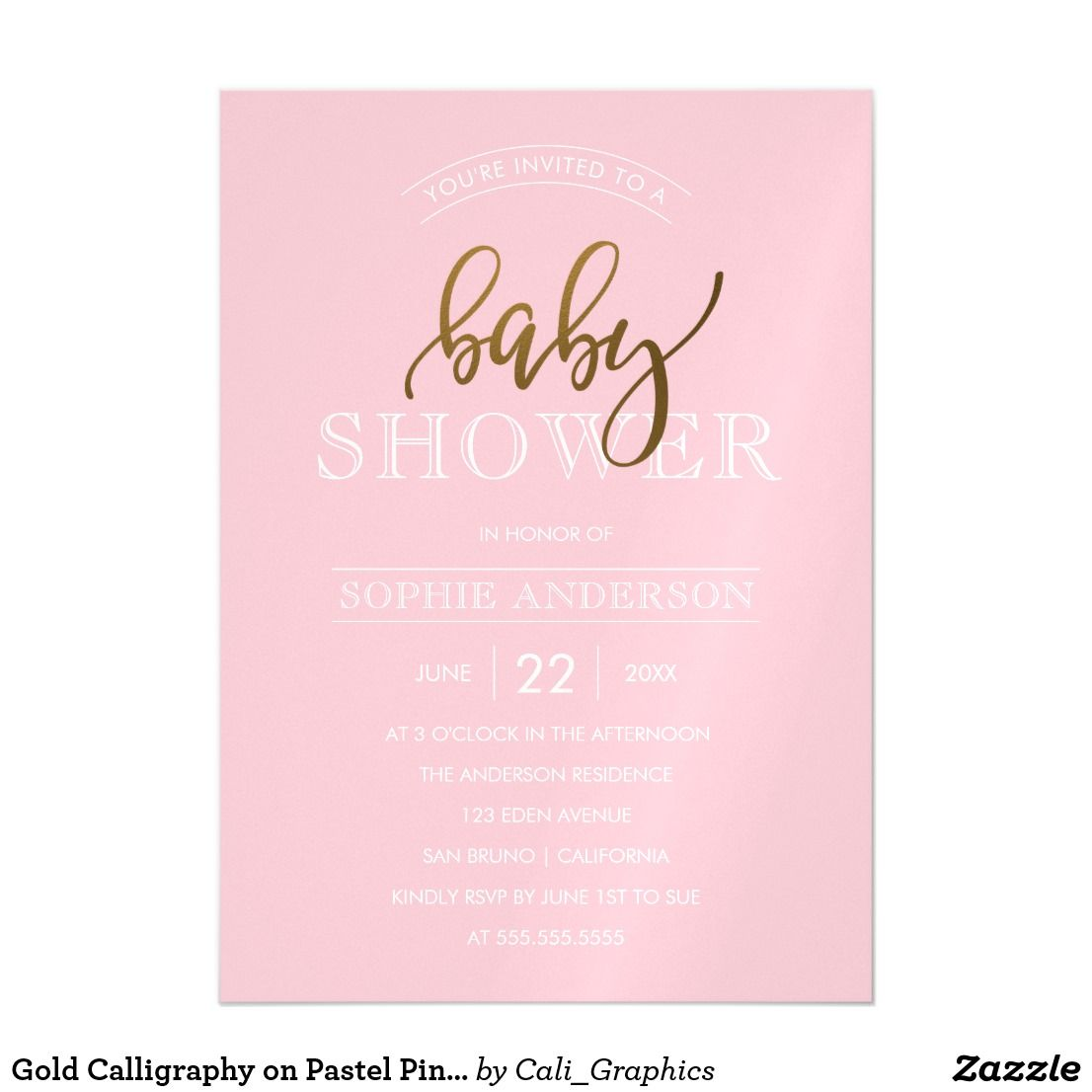 Gold calligraphy on pastel pink baby shower magnetic invitation gold calligraphy on pastel pink baby shower magnetic card create your own gold calligraphy on pastel pink baby shower magnetic invitations by cali filmwisefo