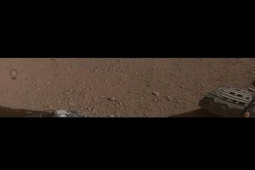 This mosaic image shows the first rock target (N165 circled) NASA's Curiosity rover aims to zap with its Chemistry and Camera (ChemCam) laser.