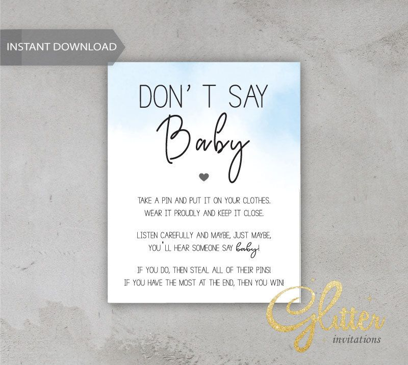Baby blue boy baby shower, Dont Say Baby, Printable Diaper Pin, Clothes Pin Game, Printable girl Dont Say Baby, CY 006