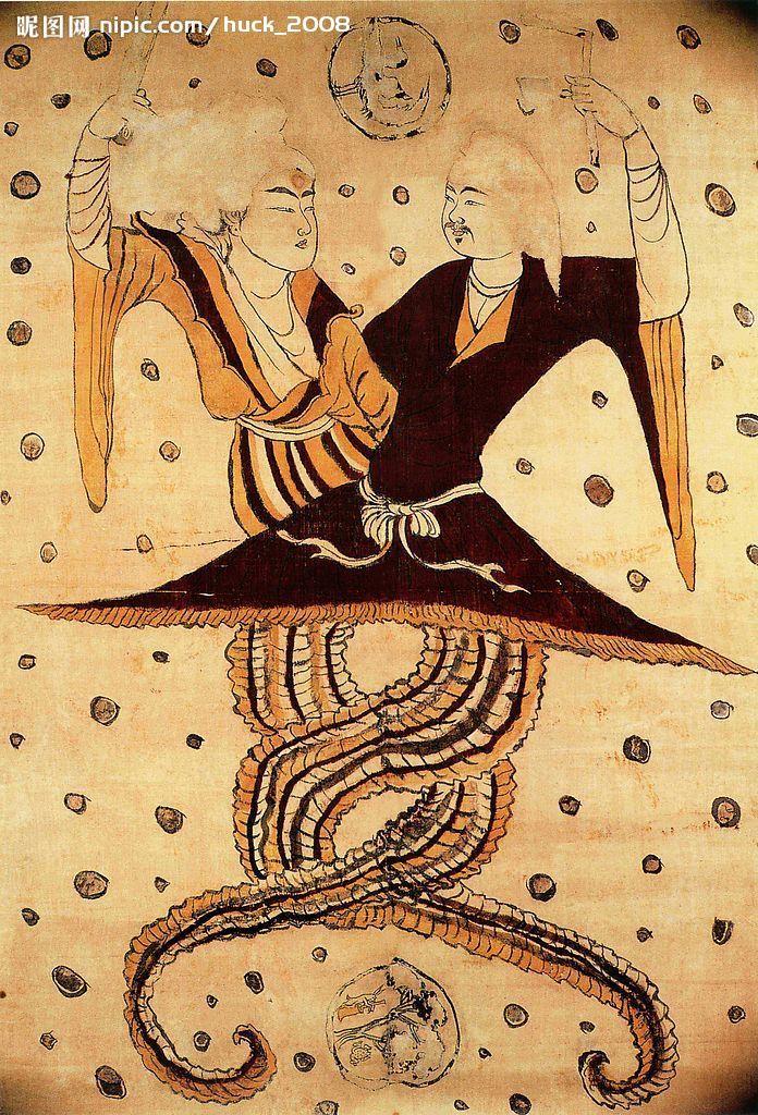 Fuxi a Nugua sú ľudia od pása hore a majú chvosty drakov.