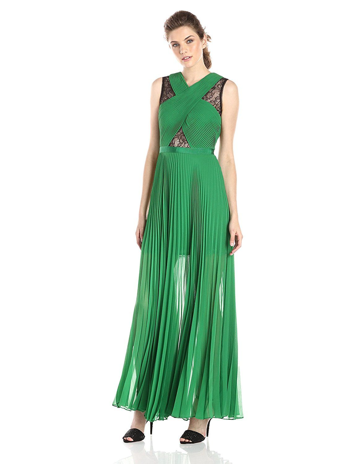 BCBGMAXAZRIA Women's Caia Chiffon Pleated Evening Gown >>> Find out more details by clicking the image : Women's dresses