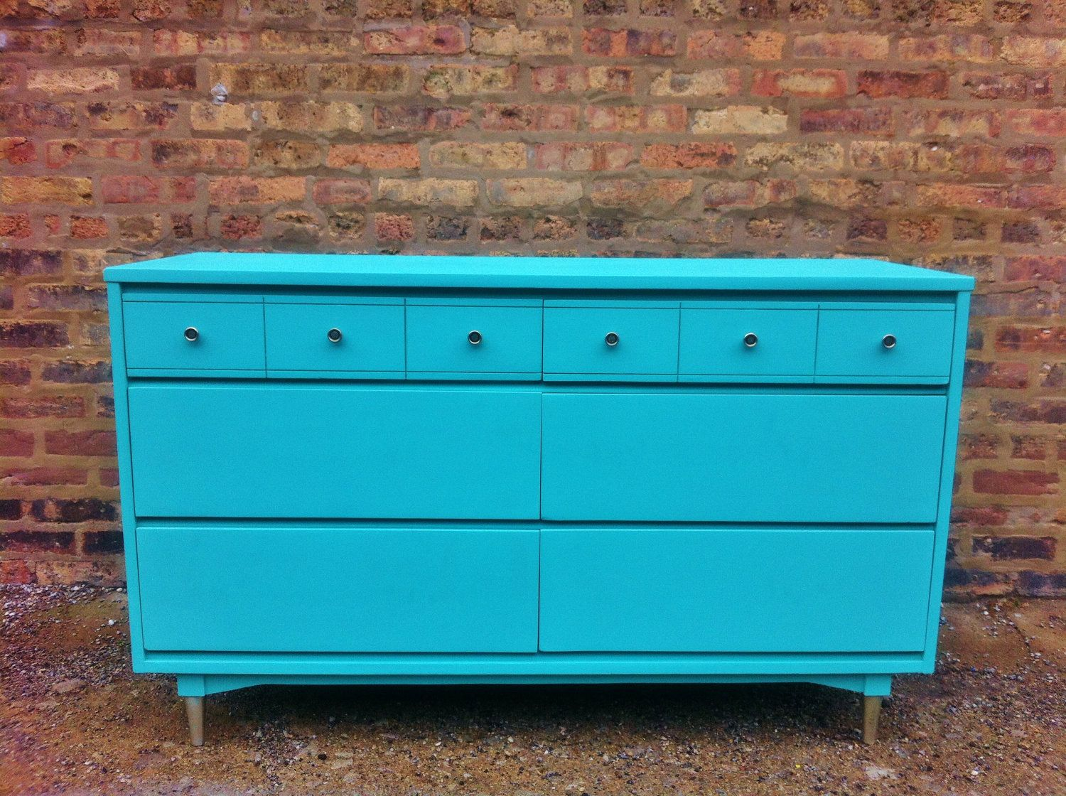 Mid Century Dresser In Chevy Blue. $299.00, via Etsy......LOVE the COLOR