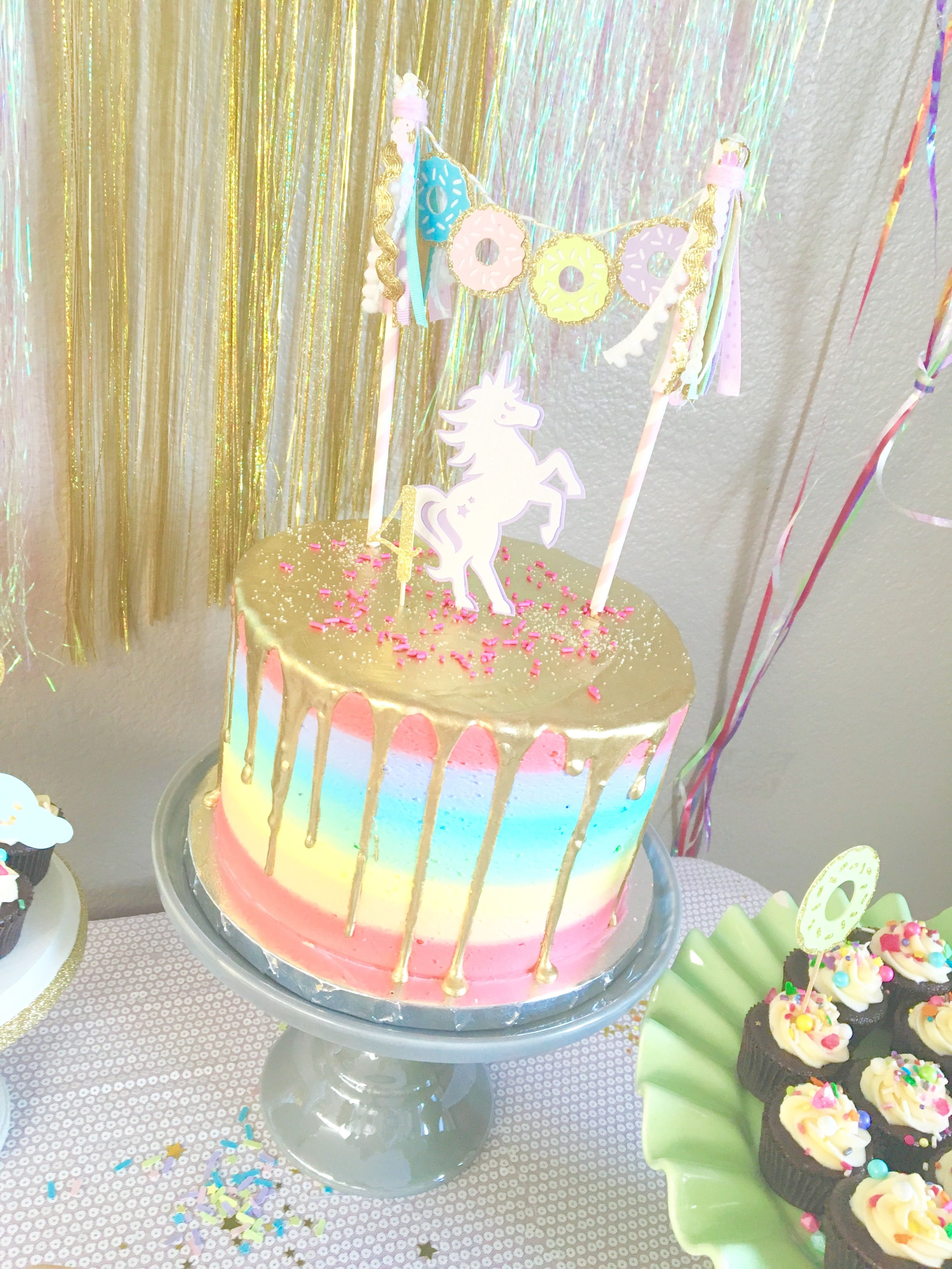 Gorgeous Rainbow Gold Drop Cake By Lovecakes And Donut