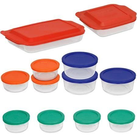 Pyrex Bake And Store 24 Piece Glass Bakeware Set With Multi Color