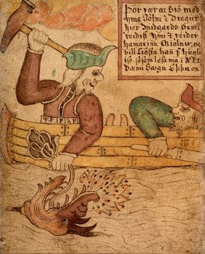 Norse - This 18th Century Icelandic manuscript shows Thor and Hymir fishing for Jormungand, the Midgard Serpent. The translated text reads:    Thor rows to sea with Ymir the giant and here  he's catching the Midgard Serpent. He gets angry with Ymir and holds up the hammer Mjölnir and wants to smite him for his cowardice as can be read in the XIIth parable of Edda.