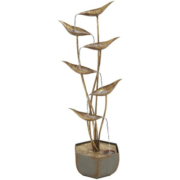 Brass Leaves Metal Outdoor Fountain ($120) ❤ liked on Polyvore ...
