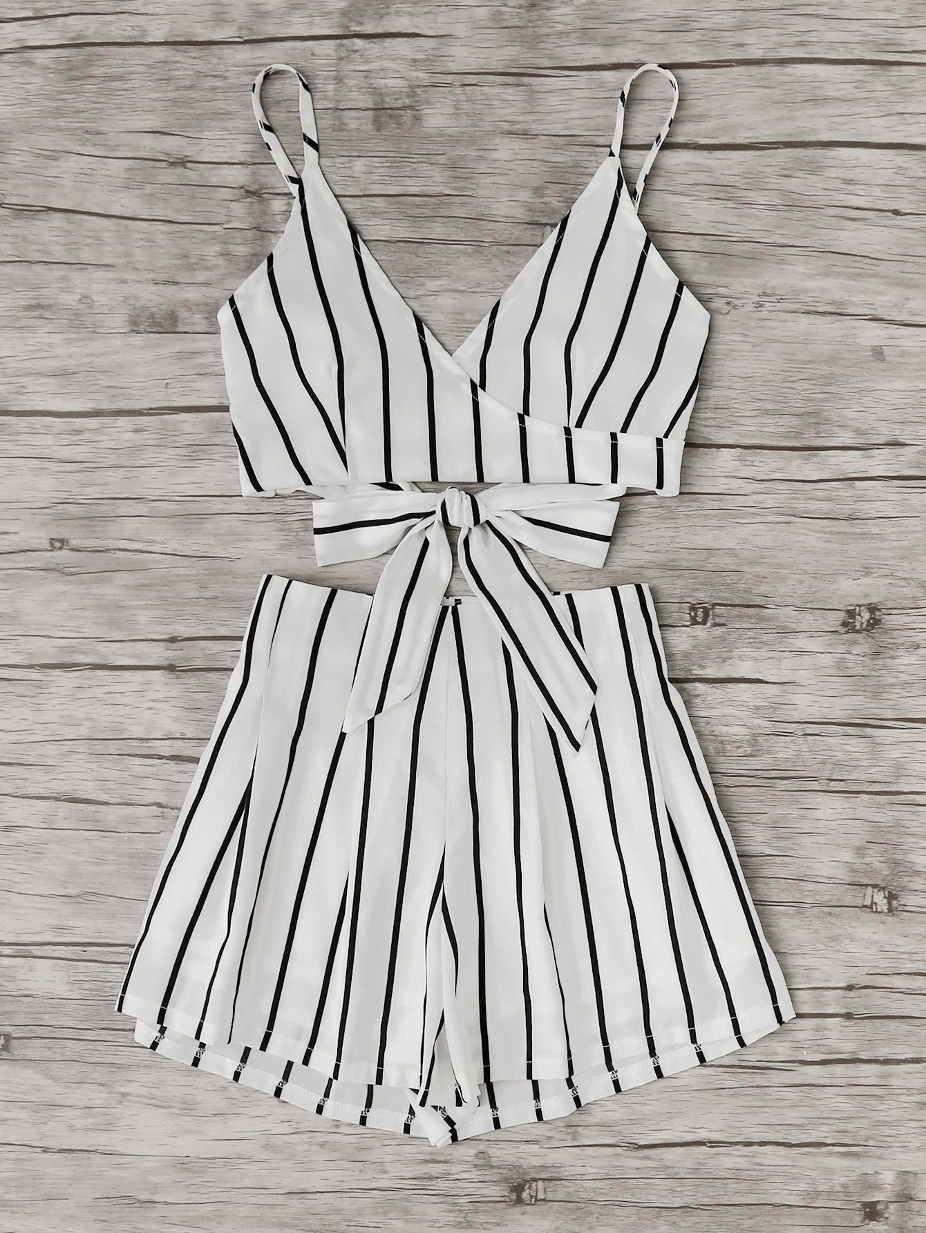 91c210b9f9 Stripe Surplice Bow Tie Open Back Crop Cami Top With Shorts ...