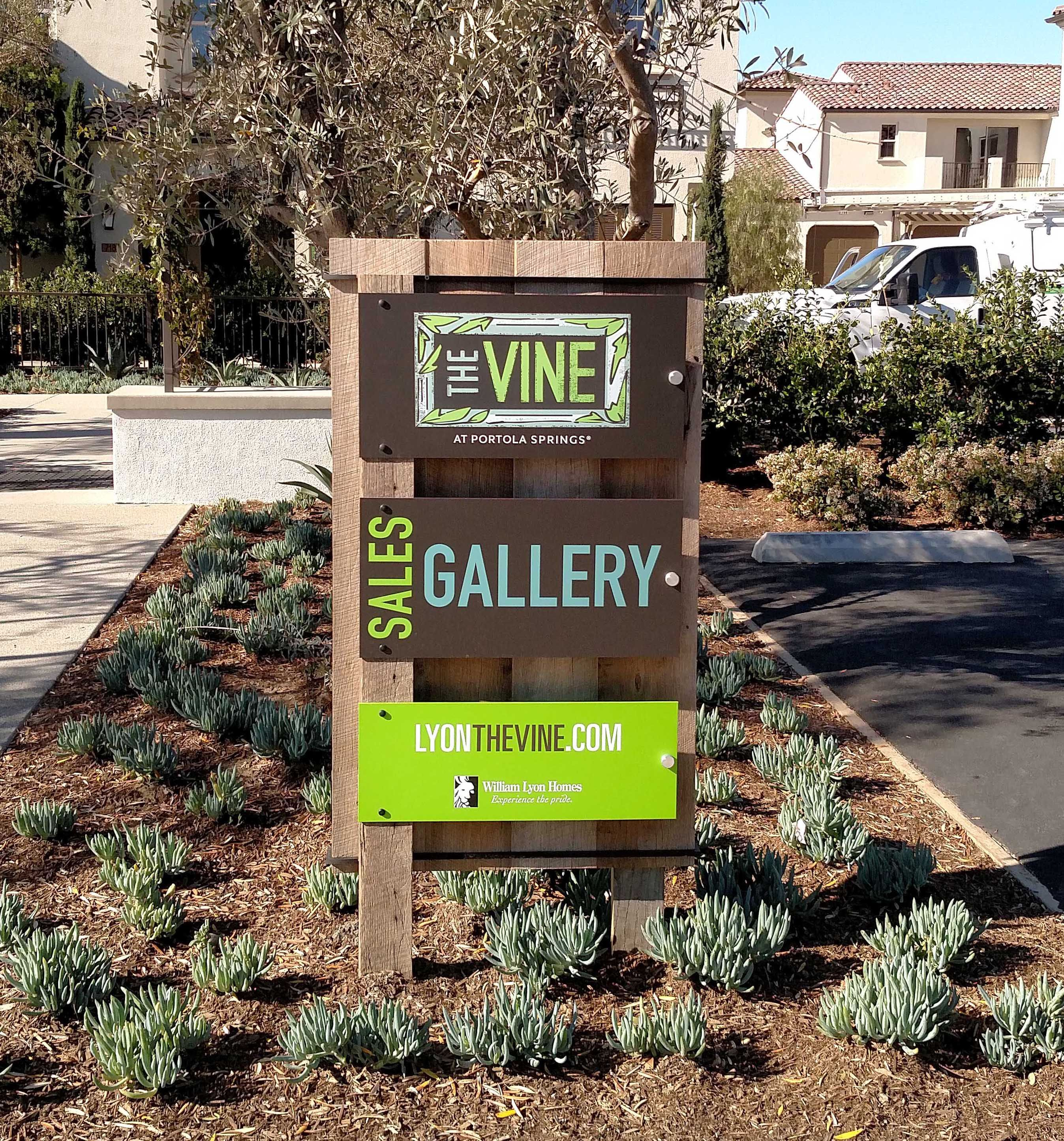 Mixed media sales gallery sign for The Vine William Lyons