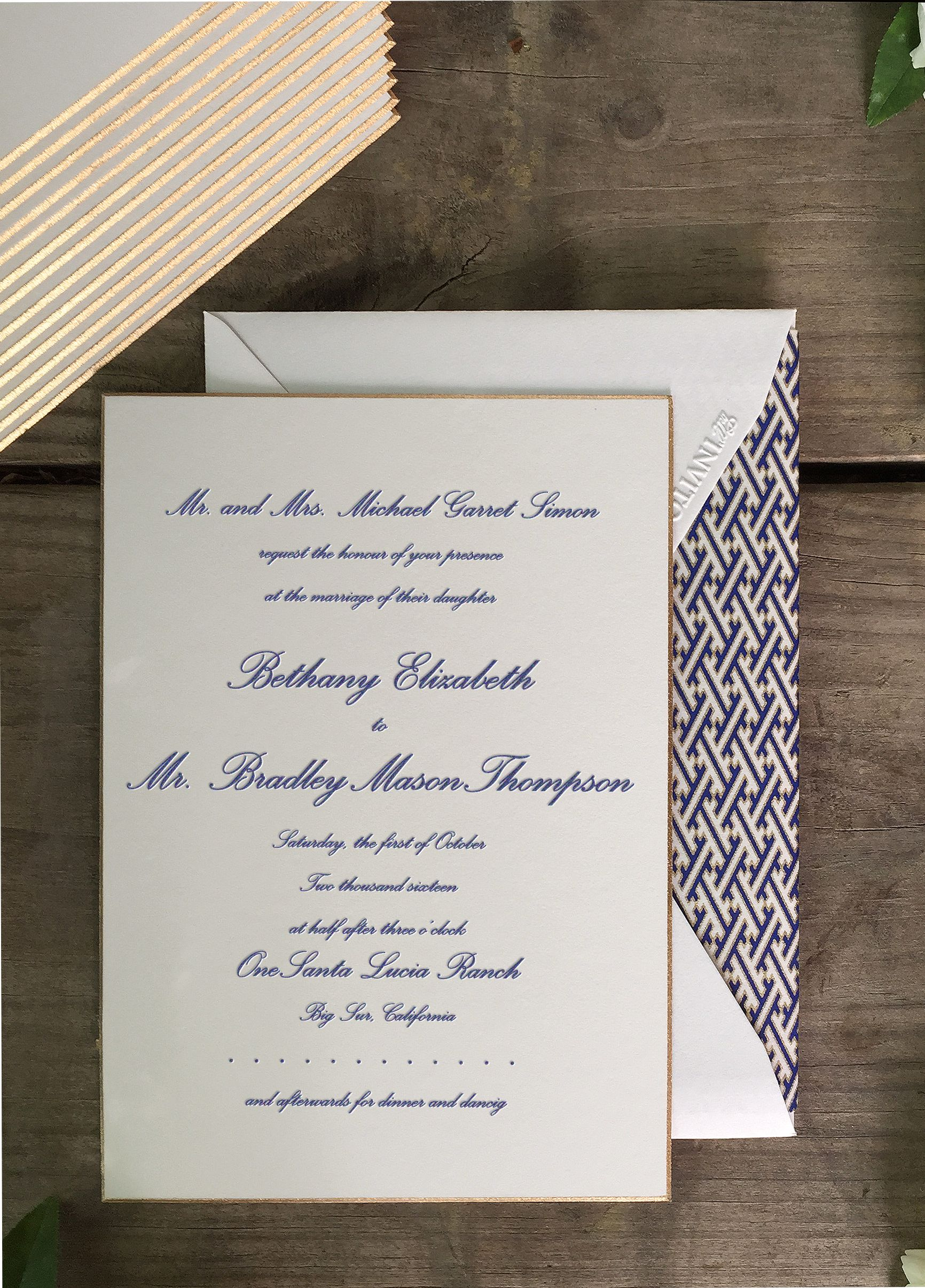 Design your own navy and gold wedding invitation online using Bell ...