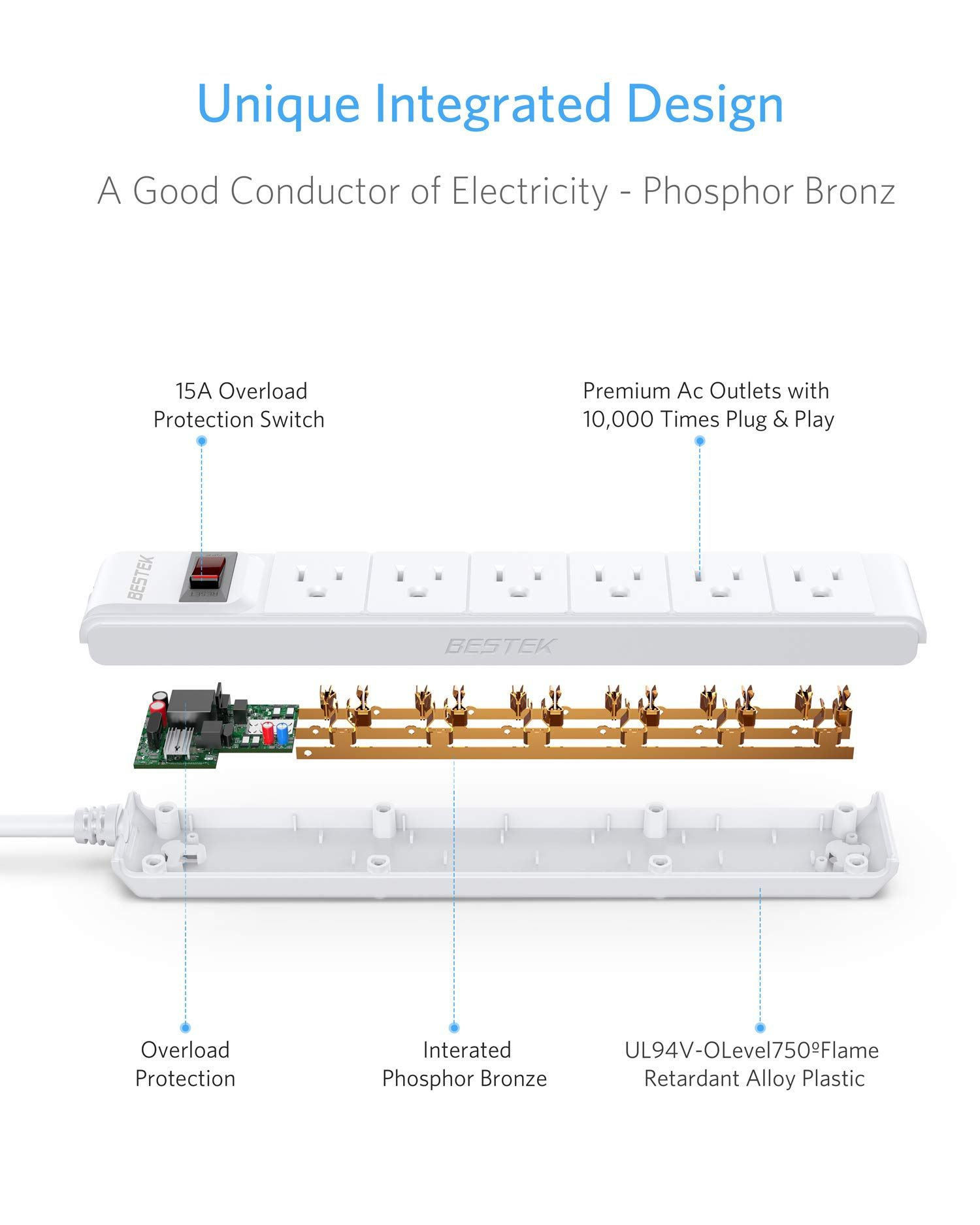 hight resolution of bestek 6 outlet surge protector 15a 125v commercial power strip with power strip schematic