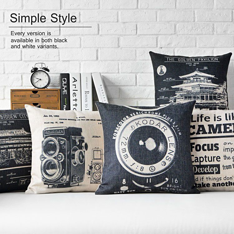 Wholesale Nordic Two Color Cushions For Sofas Minimalist Industrial Style Cushions Home Decor Retro Camera Pattern Retro Home Decor Cushions On Sofa Retro Home