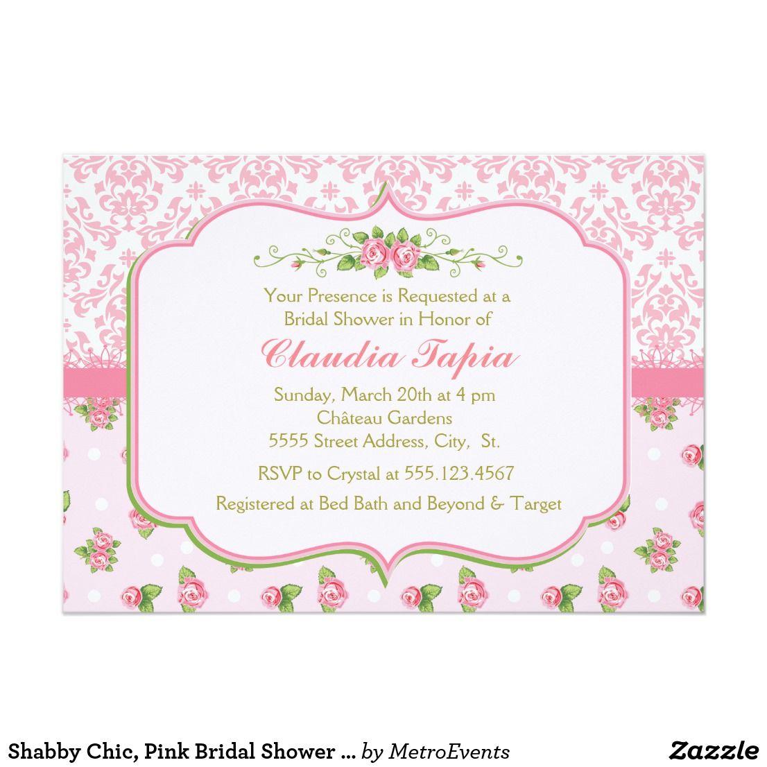 Shabby Chic, Pink Bridal Shower Invitations | Shower invitations ...