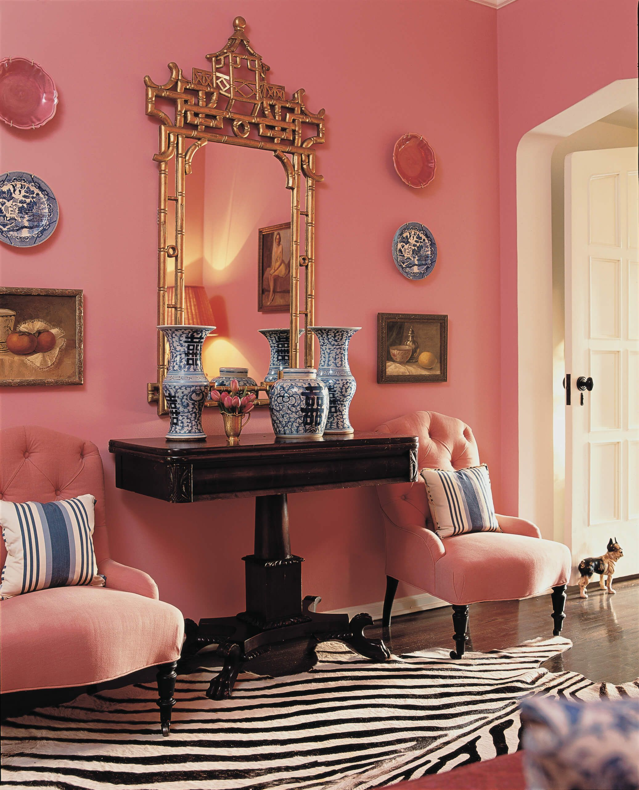 Eclectic Pink And Zebra Print Wes Anderson Inspired Hallway By Mary Mcdonald Nonagon Style Pink Dining Rooms Pink Living Room Romantic Style Living Room