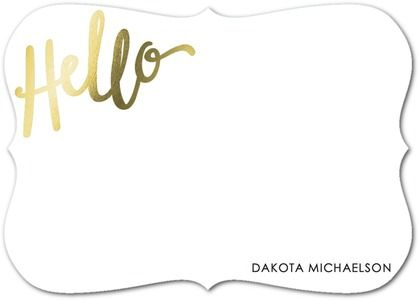 Scripted Hello: Stripe - Foil Stamped Personal Stationery - Petite Alma - Black : Front