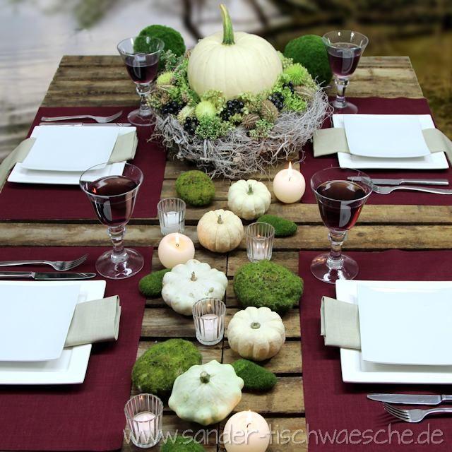 gedeckter tisch mit k rbis tischsets von sander deko pinterest. Black Bedroom Furniture Sets. Home Design Ideas