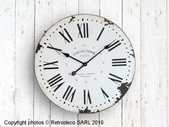 Horloge en bois patiné Collectione, déco brocante, Retrodeco