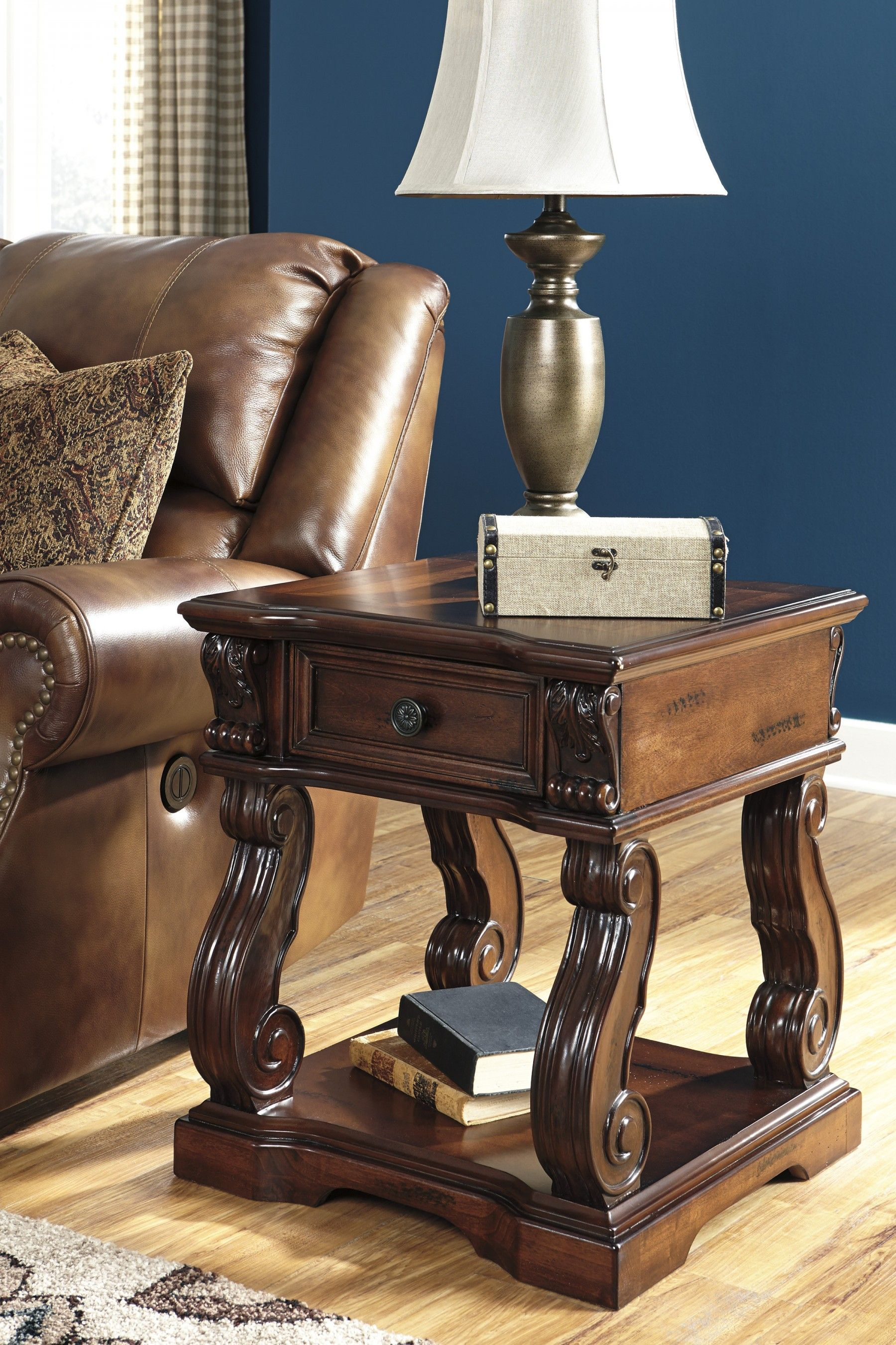 Living Room Furniture Kansas City Alymere Rustic Brown Square End Table In Style Tables And Style