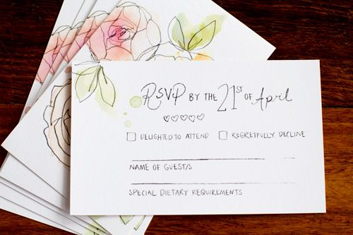 Painted Wedding Invitations: Hand Drawn And Watercolor Painted Wedding Invitations