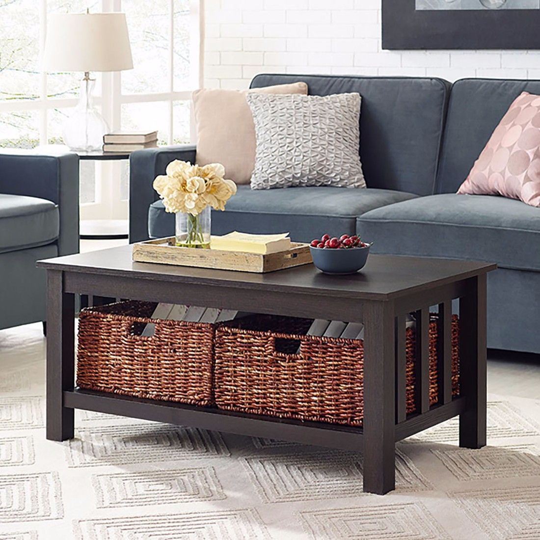 40 Wood Storage Coffee Table W Totes In Espresso Walker Edison C40mstes Coffee Table With Storage Living Room