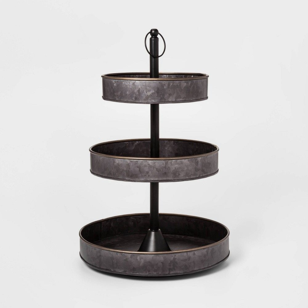 3 Tier Serving Tray With Brass Border Black Threshold In 2020 3 Tier Serving Tray Tiered Serving Trays Tiered