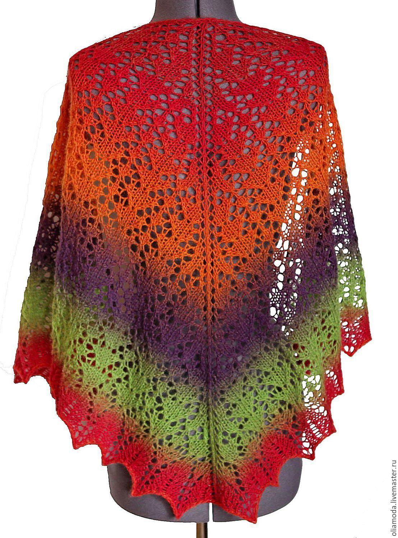 Купить Шаль вязаная Фестиваль - шаль, шаль вязаная, шаль ажурная, шаль ручная работа