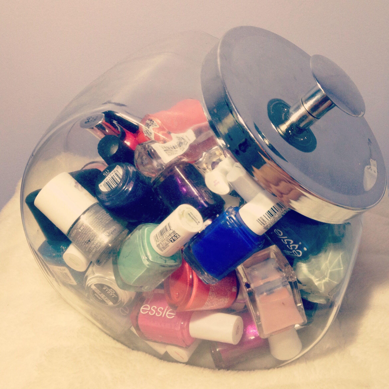 Nail polish storage.