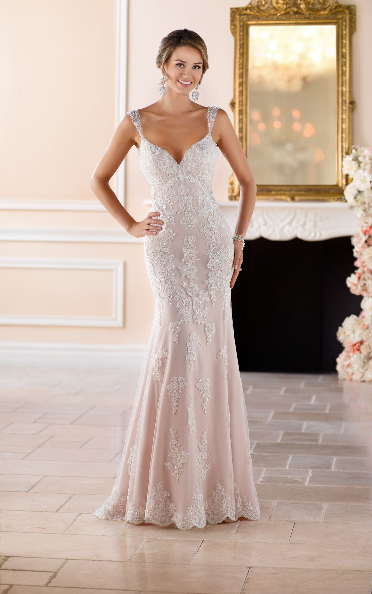 This Old Hollywood Glamour Wedding Dress With Long Train From Stella York Features Sheer Lace Cut