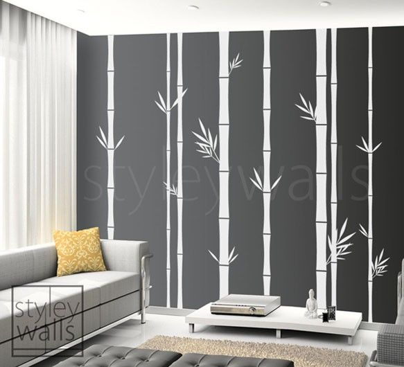 Bamboo Wall Decal Tall Set Of 8 Bamboo Stalks Vinyl Wall Decal, Home Decor,  Vinyl Wall Art Decor, Tree Wall Decal