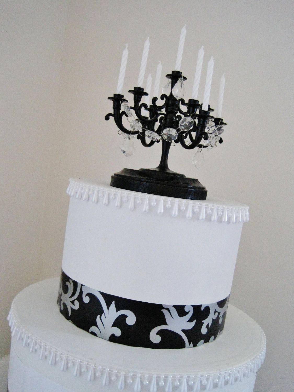 AMAZING Black Candelabra Wedding Cake By ShabulousChandeliers 3500