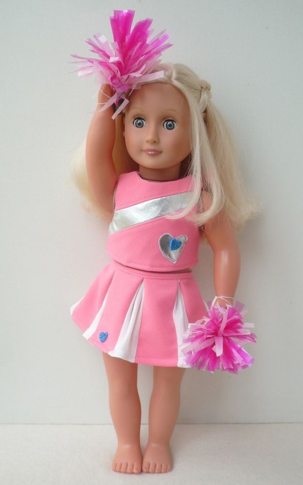 Our Generation American Girl pink cheerleader outfit pompom18 inch doll clothes #Handmadebyme #18inchcheerleaderclothes