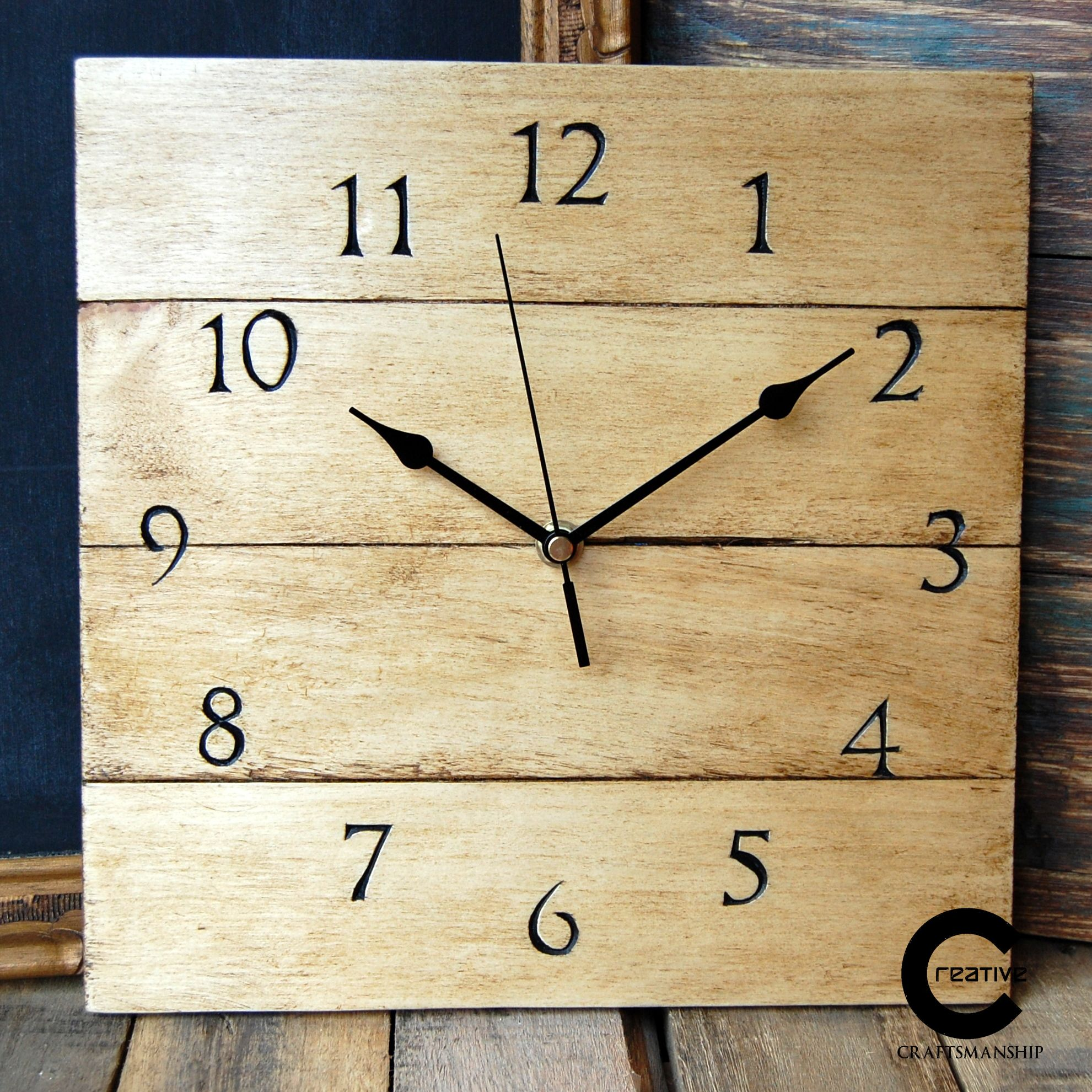 Pallet wood wall clock.Hand carved numerals. www.etsy.com/shop ...