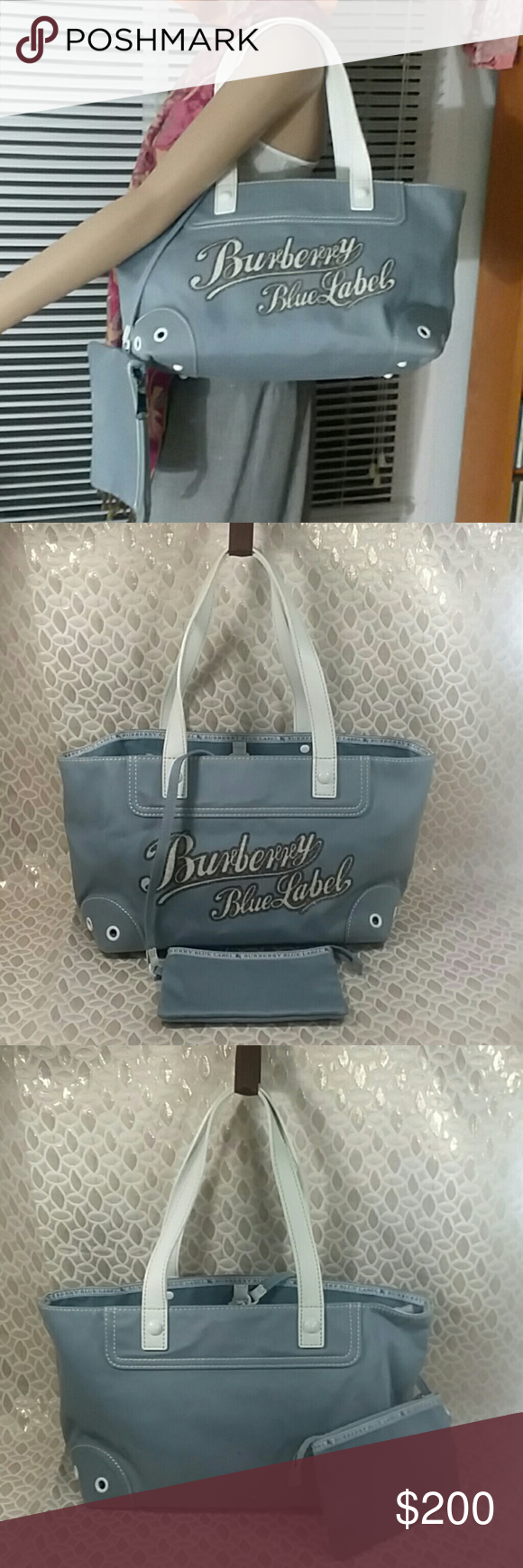 6aace7395c66 Authentic Burberry Blue Label Canvas Tote Bag. Canvas had some stains.  Inside linen and handles are good. The Burberry signature are on the canvas
