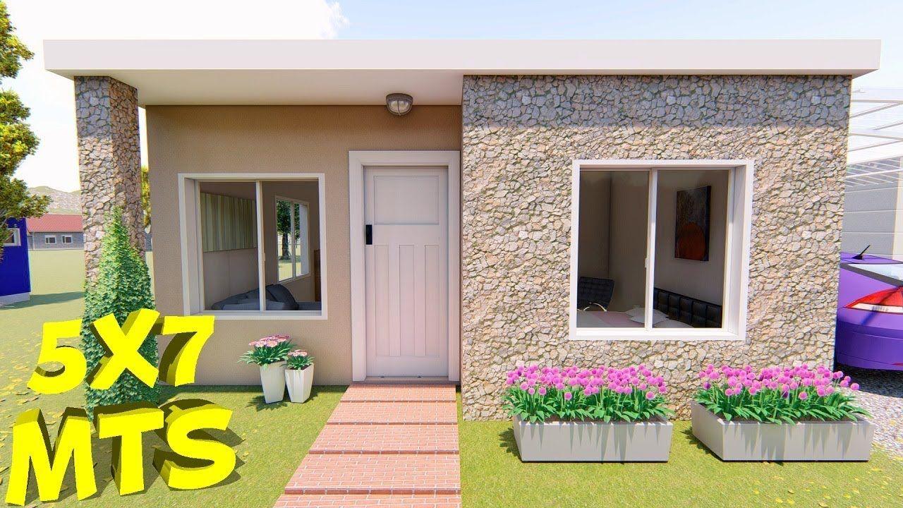 Casa De 5x7 Mts Youtube Frente De Casas Sencillas Casas Pequenas Prefabricadas Fachada Casa Pequena
