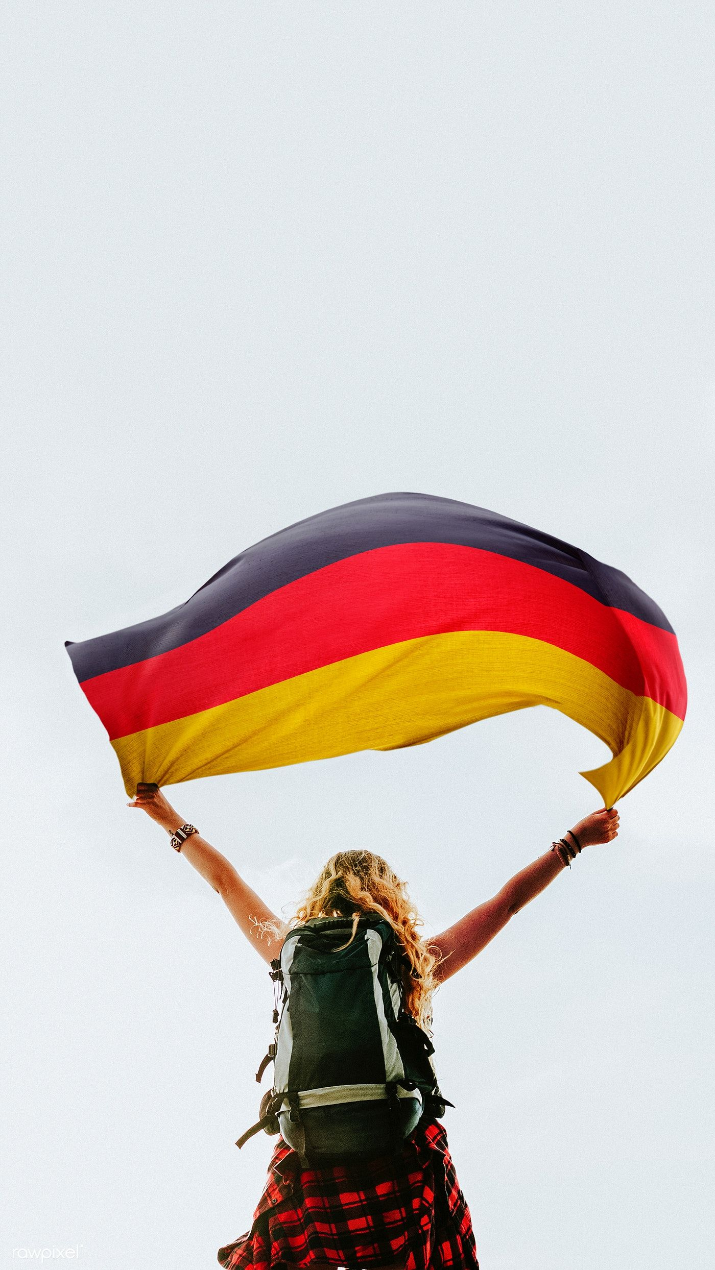 Download Premium Image Of Woman Holding The German Flag 1214191 German Flag Flag Female Images