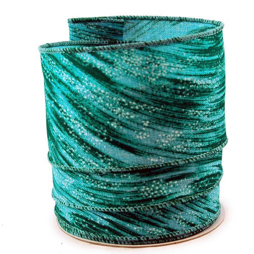 Abstract Brush Stroke Turquoise Linen Wired Ribbon 40 - 2.5in x ...