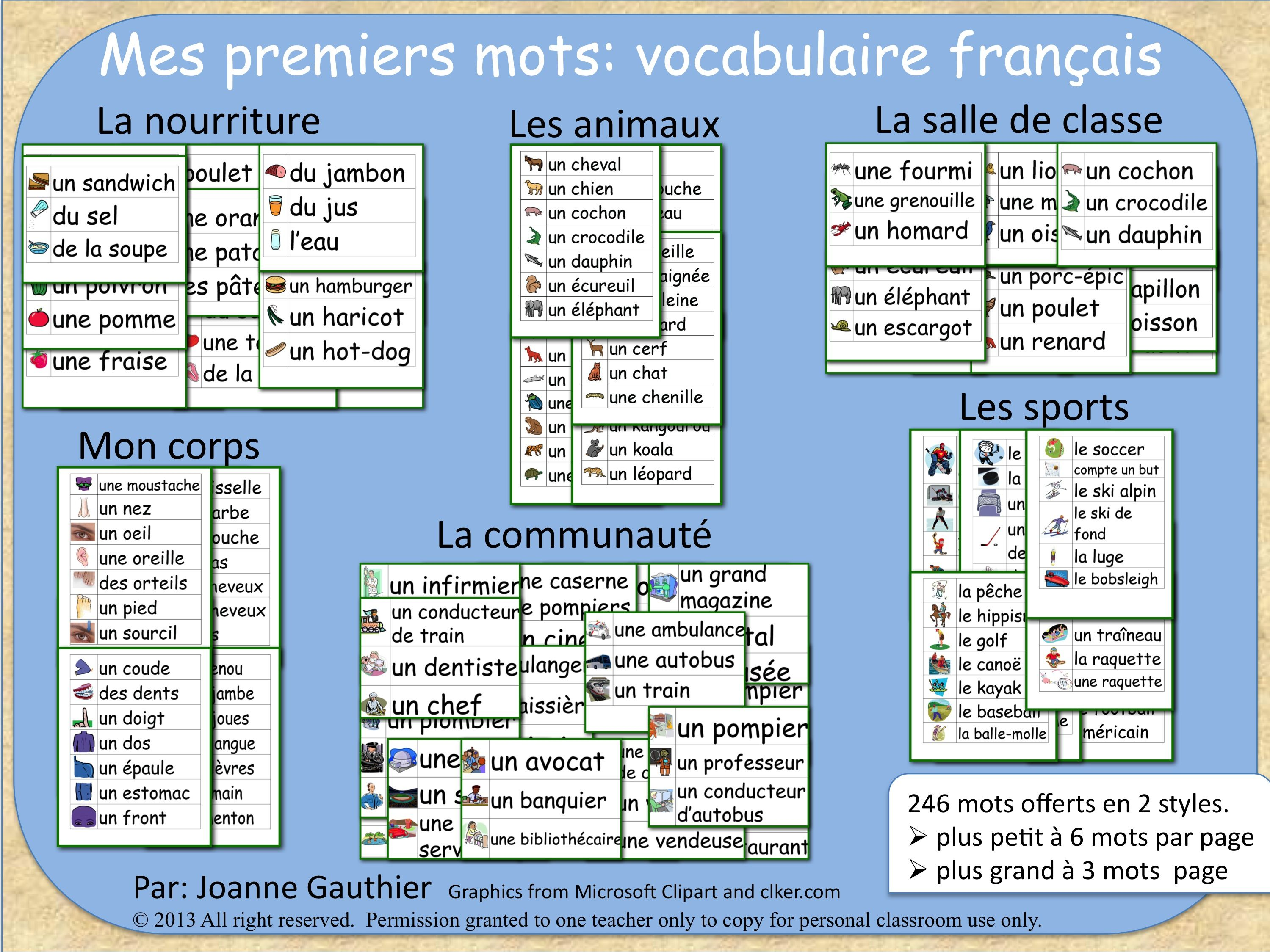 Mes Premiers Mots Basic French Vocabulary Word Walls French