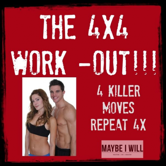 The 44 Workout!! 4 Awesome Moves 12x each for 4 Rounds!! #fitness #workout {www.maybeiwill.com} #cor...