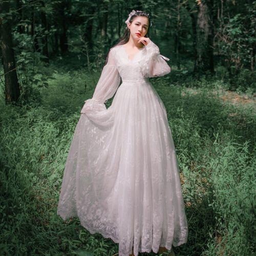 bdeb451d13f3 Womens white long dress lace full length puff sleeve v-neck vacation retro  K099