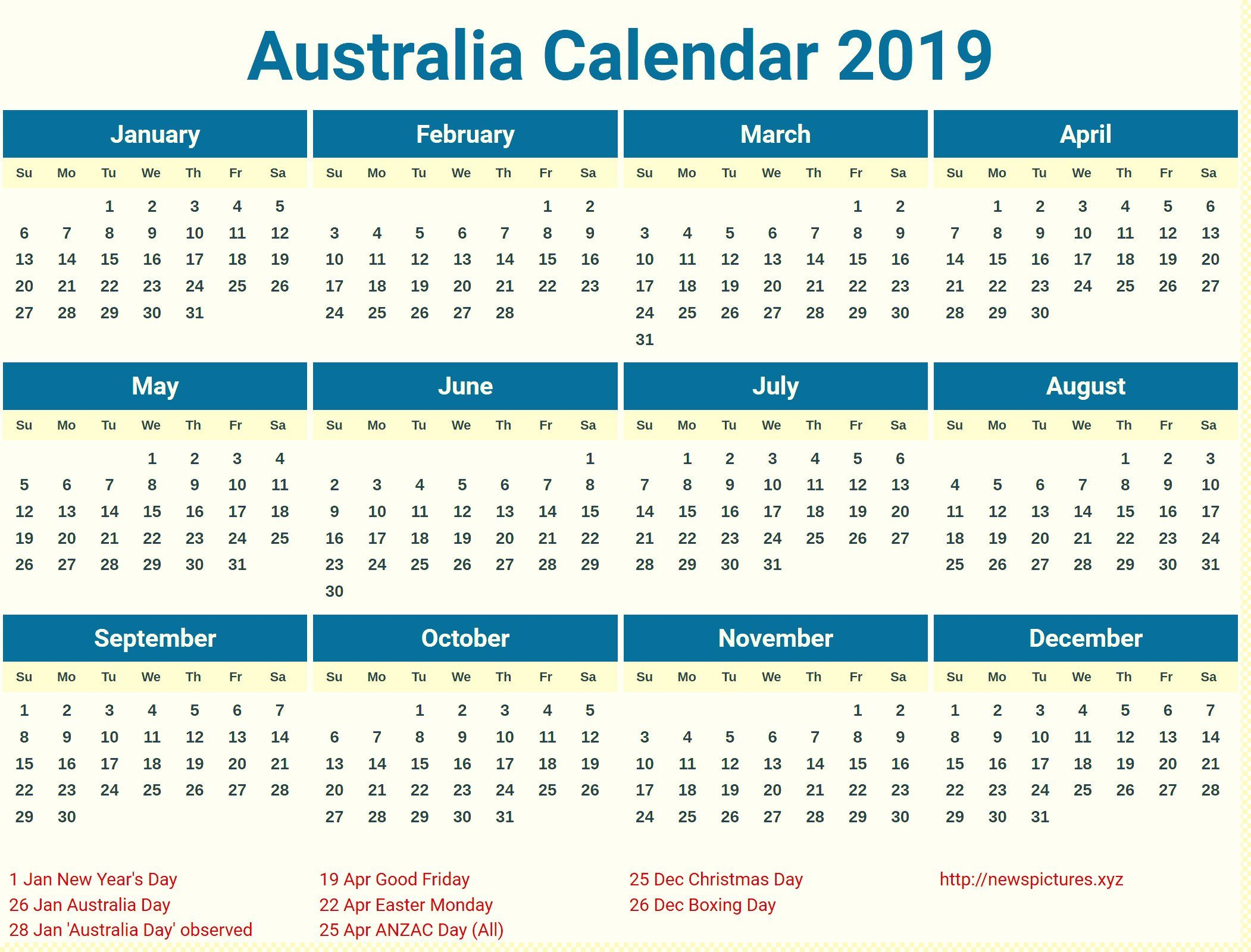 Australia 2019 Printable Calendar With Holidays Festivals